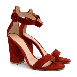Gianvito Rossi Tobasco Red Suede Block Heel Sandals