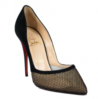 Christian Louboutin Miluna Fishnet/Suede Black Pumps