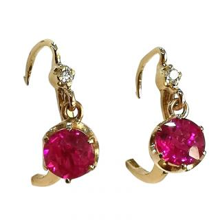 Bespoke French Dormeuse Garnet Claw Earrings in Yellow Gold