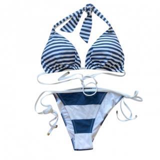 Dolce & Gabbana Blue & White Striped String Bikini