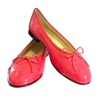 Chanel Patent Leather Raspberry Ballerina Flats