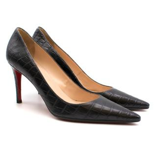 Christian Louboutin Black Crocodile Embossed Pointed Toe Pumps