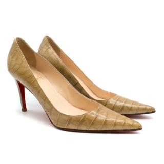 Christian Louboutin Tan Crocodile Embossed Pointed Toe Pumps