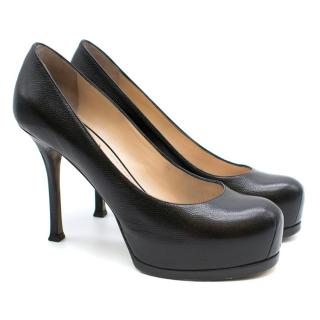 YSL Black Pebbled Leather Platform Pumps