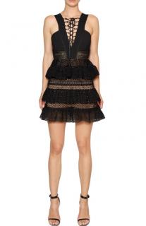 Self Portrait Black Lace-Up Tiered Mini Dress