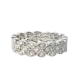Luke Stockley 18ct White Gold Diamond Filigree Eternity Ring