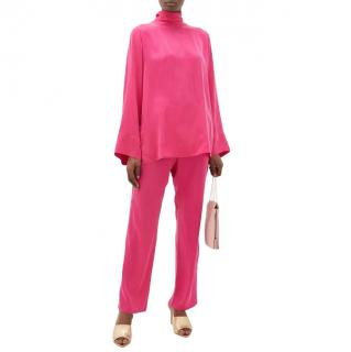 Worme Fuchsia The High Neck silk blouse