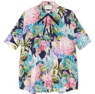 Gucci Hydrangea Print Silk Cape Shirt
