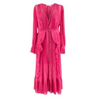 Self Portrait Pink Pleated Button Down Ruffle Maxi Dress