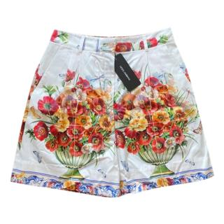 Dolce & Gabbana Cotton Floral vase printed shorts