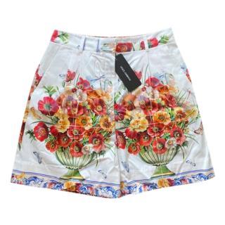 Dolce & Gabbana Cotton Floral vase printed shorts