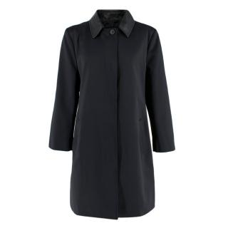 Kenzo Black Satin A Line Coat with Detachable Leather Collar