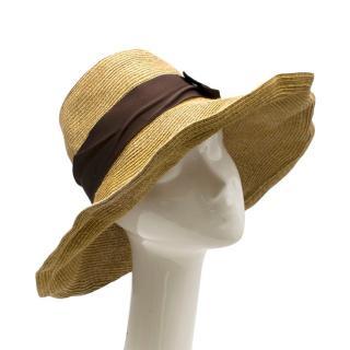 Gucci Straw Beach Hat with Grosgrain Ribbon