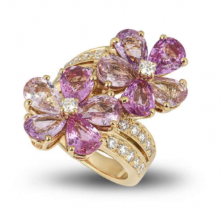 Bvlgari Yellow Gold Pink Sapphire Double Flower Wrap Ring