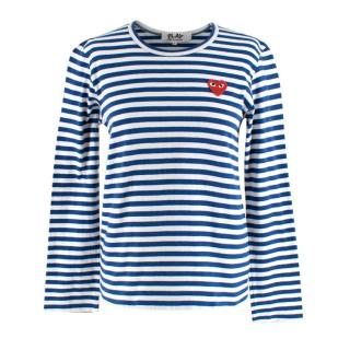 Comme des Garcons Play Blue and White Striped Crew Neck Logo