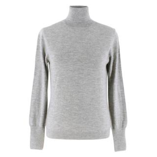 Pure Grey Cashmere Roll Neck Sweater