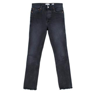 Re/Done Acid Wash Black High Rise Jeans with Frayed Cuffs