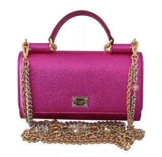 Dolce & Gabbana metallic pink Sicily bag