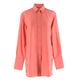 Joseph Coral Pink Silk Long Sleeve Shirt