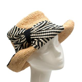 CA4LA Straw Hat With Woven Black and White Ribbon