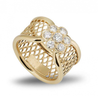 Van Cleef & Arpels Mesh Yellow Gold & Diamond Ring