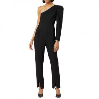Self Portrait Black Asymmetric Sleeve Jumpsuit