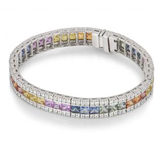 Bespoke White Gold Diamond & Sapphire Bracelet