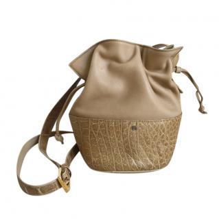 Loewe Beige Leather & Snakeskin Mini Bucket Bag