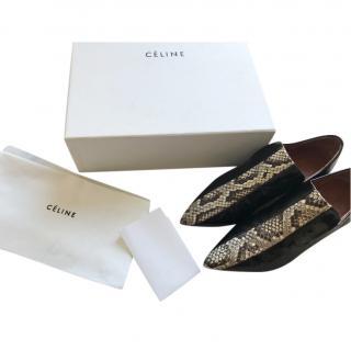 Celine Black Glossed Leather & Python Loafers