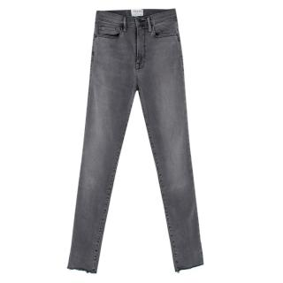 Frame Washed Grey High Rise Skinny Jeans