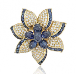 Bespoke Yellow Gold Diamond & Sapphire Flower Brooch