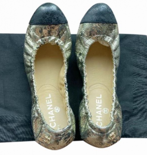 Chanel Crackled Gold Leather Stretch Ballerinas