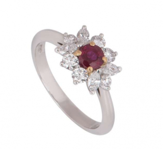 Tiffany & Co. Diamond Ring with Central Ruby Platinum