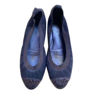 Chanel Blue Crystal Embellished Ballerina Flats