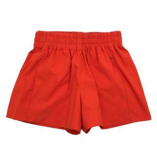 Maje Red Gathered Cady Shorts