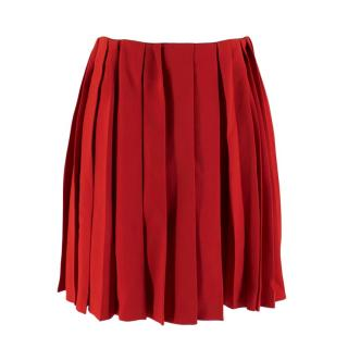 Miu Miu Cherry Red Pleated Raw Hem Mini Skirt