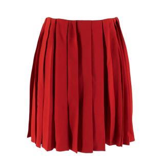 Miu Miu Cherry Red Pleated Raw Hem Mini Skirt