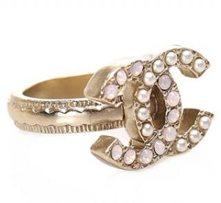 Chanel Faux Pearl & Pink Crystal CC Ring