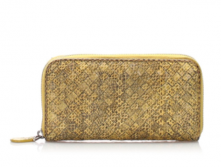 Bottega Veneta Intrecciato Snake Skin Leather Zip Around Wallet