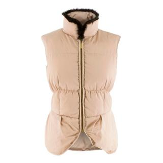 Carolina Herrera Beige Down Gilet with Fur Trim
