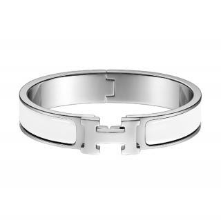 Hermes Narrow White Enamel Clic H Bracelet PHW
