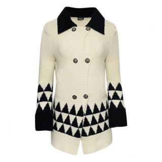 Chanel Paris Moscow cream/black knit cashmere jacket
