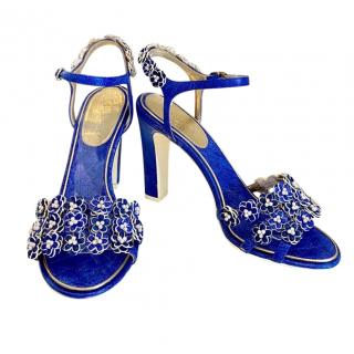 Chanel Blue & White Leather Camellia Faux Pearl Sandals