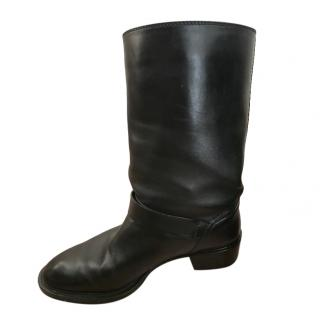 Tod's Black Leather Biker Boots