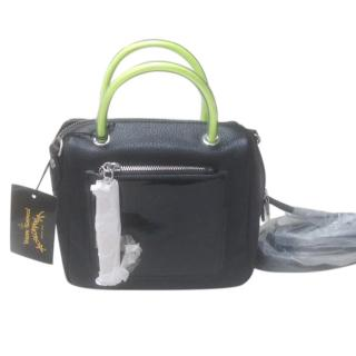 Vivienne Westwood Anglomania Black Leather Bag with Neon Handles