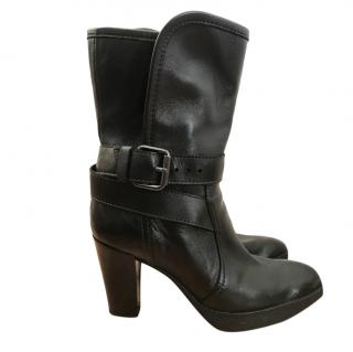 Tod's Black Leather Buckle Detail Ankle Boots