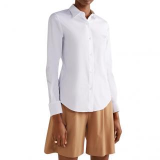 Theory White stretch cotton-blend poplin shirt