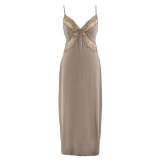 La Perla Mushroom Lace Trim Silk Slip Dress