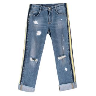 Ermanno Scervino Distressed Side Stripe Jeans