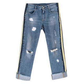 Ermanno Scervino Distressed Side Stripe Jeans